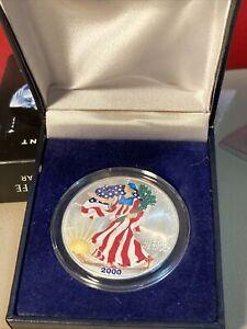2000 COLORIZED AMERICAN SILVER EAGLE .999 FINE SILVER COIN