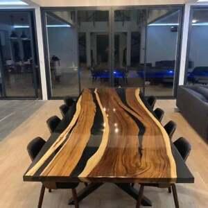 Epoxy River Table, Dining Room Wood Furniture, Walnut Slab Dining Side Table Art