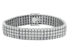 ".925 Sterling Silver 4 Row Prong Set Fanook Style Diamond Bracelet 2ct 8.5"" 17mm"