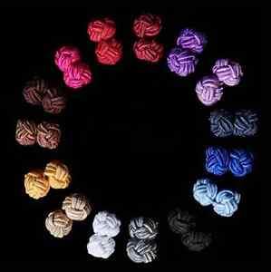 Mens Knot Rope Cotton Silk Shirt Cuff Links Cufflinks Elastic Fastener Ball Tie