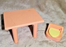 VINATGE Playskool Dollhouse Replacement Furniture 2 Pieces Table Toddler Toilet