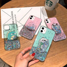 Cartoon Glitter Quicksand Bracket TPU Phone Case For iPhone 11 Max XR X 7 8 SE 6