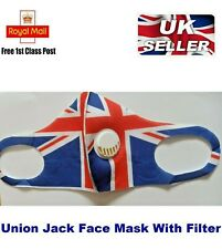 Union Jack Face Mask Protective Mouth Covering Washable Reusable with Filter