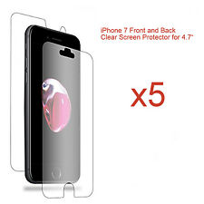 """5 x Front and Back LCD Screen Protector Guard for Apple iPhone 7 for 4.7"""" Screen"""