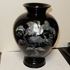 "LARGE 9""1/4 H. KOREAN MOTHER OF PEARL CRANES ON BLOSSOMS TREE BLACK LACQUER VASE"