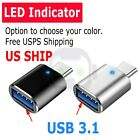LED USB-C 3.1 Male to USB A Female Adapter Converter OTG Type C Android Phone