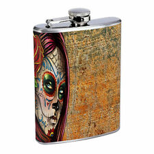 Sugar Skull D23 8oz Hip Flask Stainless Steel Day of the Dead Los Muertos Art