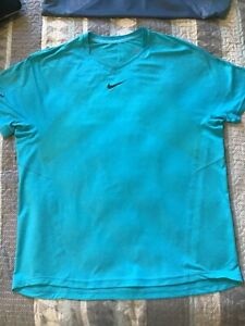 NIKE DRI-FIT RAFA NADAL TURQUOISE BLUE CHECK PATTERN TENNIS SHIRT VGUC MUST SEE!