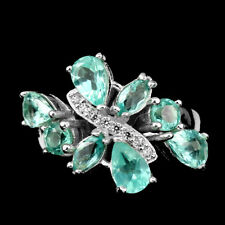 GRACEFUL NEON BLUE APATITE WITH WHITE CZ ACCENTS .925 STERLING SILVER RING SZ 9