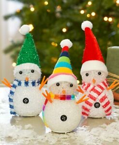 Set of 3 Whimsical Color-Changing Snowmen Christmas Figurines