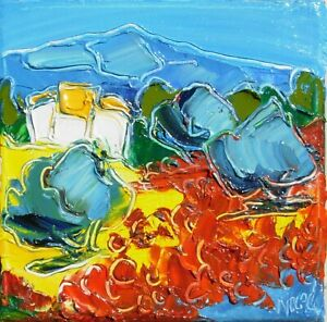 """OIL ON CANVAS BY NOLAC french painter 5,91"""" x 5,91"""" - poppies feast"""