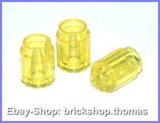 Lego 3 x Steine rund transparent gelb - 3062b - Brick round 1x1 Yellow NEU / NEW