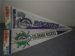 "Colorado Rockies Vintage lot 2 Different 90s 30""x 12"" MLB Baseball Felt Pennants"