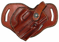 Brown Leather 3-slot MIDDLE SMALL OF BACK (SOB) OWB Holster - RUGER LC9, LC9S