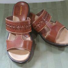 Croft & Barrow women's size 6.5 sandals brown faux leather slip on