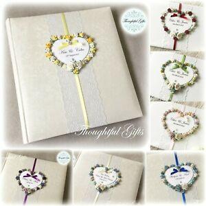 💖Luxury Personalised Large Wedding Photo Album Floral Heart/ Lace/ Diamante
