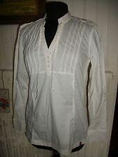 Chemisier blouse tunique coton blanc tunique EDC ESPRIT M 38/40 manches longues