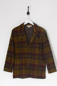 Vintage Women's Checked Pattern Wool Coat Brown (S)