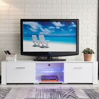 "63"" High Gloss TV Stand Cabinet LED Shelves 2 Drawer Console Home Furniture BR"