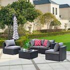 5pc Furniture Patio Rattan Wicker Outdoor Sectional Sofa Garden Cushion Table