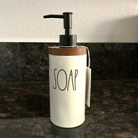 Rae Dunn SOAP Dispenser Wood Wooden Pump Ceramic Farmhouse LL VHTF