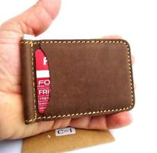Men's Full Leather Card Case Mini Wallet 4 Slots 2 Slip Pockets Bifold Slim Tan