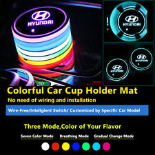 2pcs Colorful LED Coaster Atmosphere Car Light Bulbs For Hyundai Neon Lights