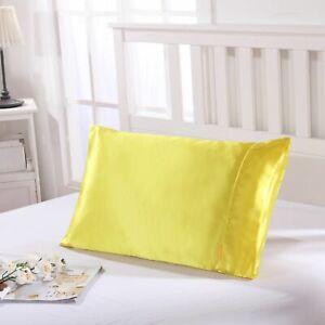 25 Momme Faux Silk Satin Charmeuse Pillowcase Smooth and Soft Lemon Colour