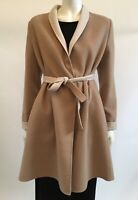 MAX MARA Camel & Cream Wool Double Face Shawl Collar Belted Coat IT 46 UK 14