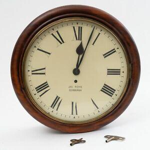 "Antique James Ritchie Edinburgh Wood Mahogany Wall Clock 15.5"" Diameter 6"" Depth"