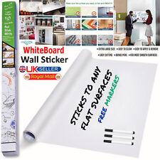 DRY WIPE Removable Whiteboard Vinyl Wall Sticker Roll Office 2m x 60cm +3 Marker