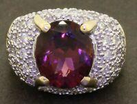Heavy 14K gold 6.29CTW diamond/12 X 10mm Pink tourmaline cocktail ring size 7.25