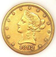 1892-CC Liberty Gold Eagle $10 Carson City Coin - AU Details - Nice Luster!