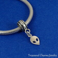 925 Sterling Silver Alien Martian Dangle Bead Charm - fits European Bracelets