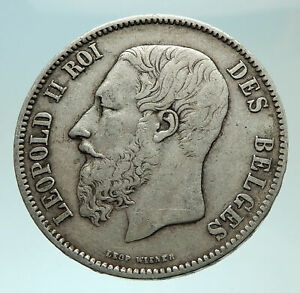 1869 BELGIUM with King LEOPOLD II and LION Genuine Silver 5 Francs Coin i75936