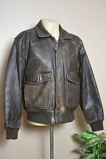 VTG U2 WEAR ME OUT DISTRESSED BROWN LEATHER FLIGHT BOMBER AVIATION JACKET * 42