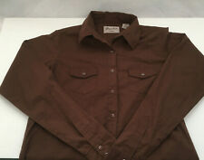 vintage wrancher by wrangler long sleeve brown snap button shirt cowgirl western