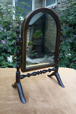 Antique Victorian Bobbin Work Mahogany Cheval Dressing Table Mirror