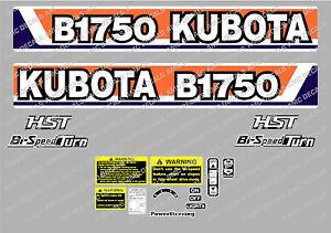 KUBOTA  B1750 HST COMPACT TRACTOR DECAL STICKER