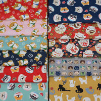 Cotton Cat Dog Printed Fabric Japanese Style Cloth Half Meter Material Sewing