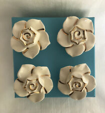 4 VTG Flower Shaped Ceramic Porcelain Drawer Cabinet Knobs Pulls Roses Long Bolt