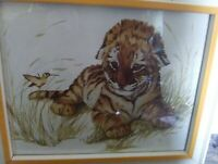 "Cherry Clancy ""Tiger Cub"" Framed Painting the cub is resting & watching a bird"