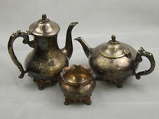 Vintage Silver Plated Etched EPNS Coffee Teapot & Sugar Bowl Stamped EPNS Y.C