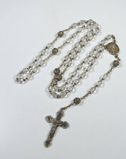 Vintage Silvertone Clear Crystal Rosary Filigree Capped Beads Ornate Crucifix