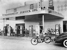 1942 Texaco Station  Car Pulling Motorcycle 8 x 10 Photograph
