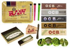 RAW MINI ROLLING TRAY CHRISTMAS GIFT SET 5 OCB WICK ASSORTED HOLDERS 4PC GRINDER