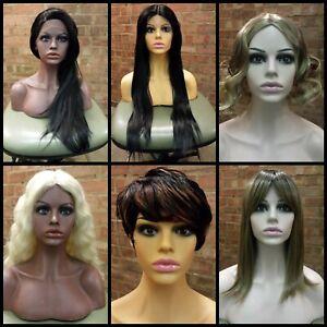 FIBERGLASS FEMALE MANNEQUIN SHOP DISPLAY HEAD HALF BUST & SHOULDERS WIG SCARF