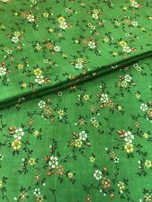 New listing 2 yds Vtg 1960s Tiny yellow orange calico flowers on Apple Green Cotton Fabric