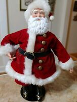 """Vintage Santa Claus Figurine on Metal Stand 9"""" Red Velvet Suit w Brass Buttons"""