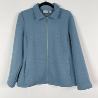 Chicos Size 2 Large L Quilted Full Zip Jacket Blue Flat Collar Pockets Womens